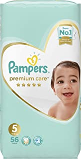 Pampers Premium Care Junior Diapers, Size 5, 1 Jumbo Pack - 11-18 Kg, 56 Count