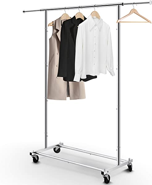 Simple Trending Standard Rod Clothing Garment Rack Rolling Clothes Organizer On Wheels For Hanging Clothes Chrome