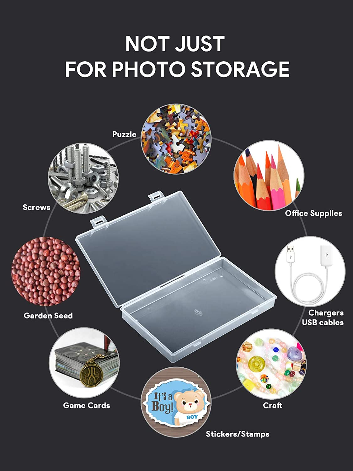 Extra Large Photo Case 4 x 6 Craft Storage Box for Photo Stickers Stamps Seeds Black Barhon Photo Storage Box Photo Organizer 18 Inner Photo Keeper Cases