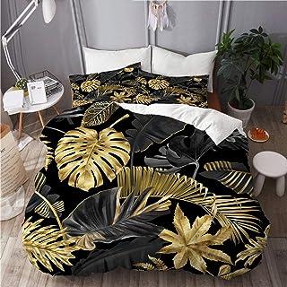 KIMDFACE Parure de lit,Feuilles Tropicales Or et Noires sur Fond Sombre,Housse de Couette en Microfibre 240x260 cm+2 taies...