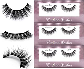 Cuckoo False Eyelashes 3D Faux Mink Lashes Korea PBT Fiber Reuseable Natural False Lashes 100% handmade - 301 (3Pairs)