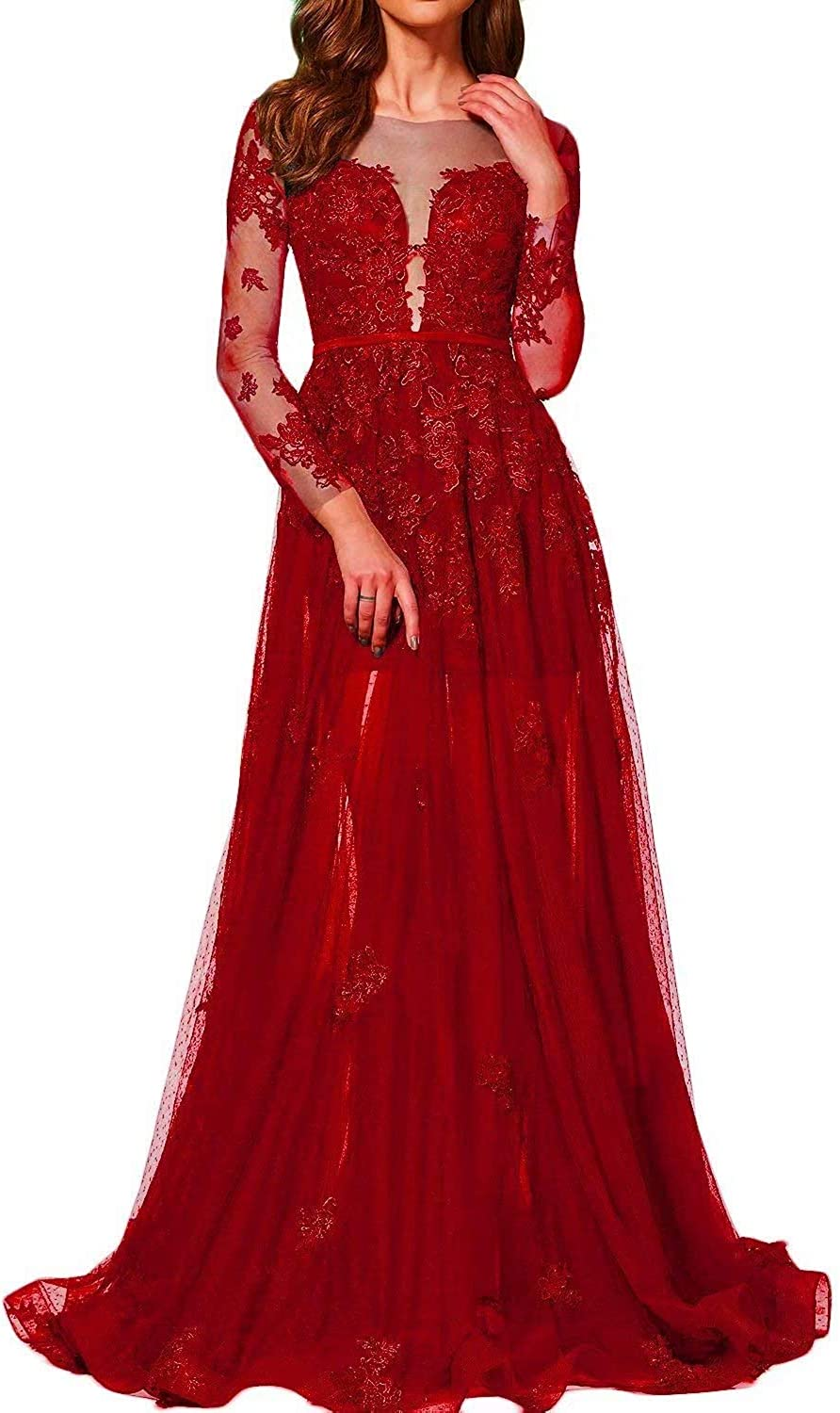 UZN Women's Long Sleeves Lace Appliqued Pron Dress V Neck Empire Waist Party Gown Tulle