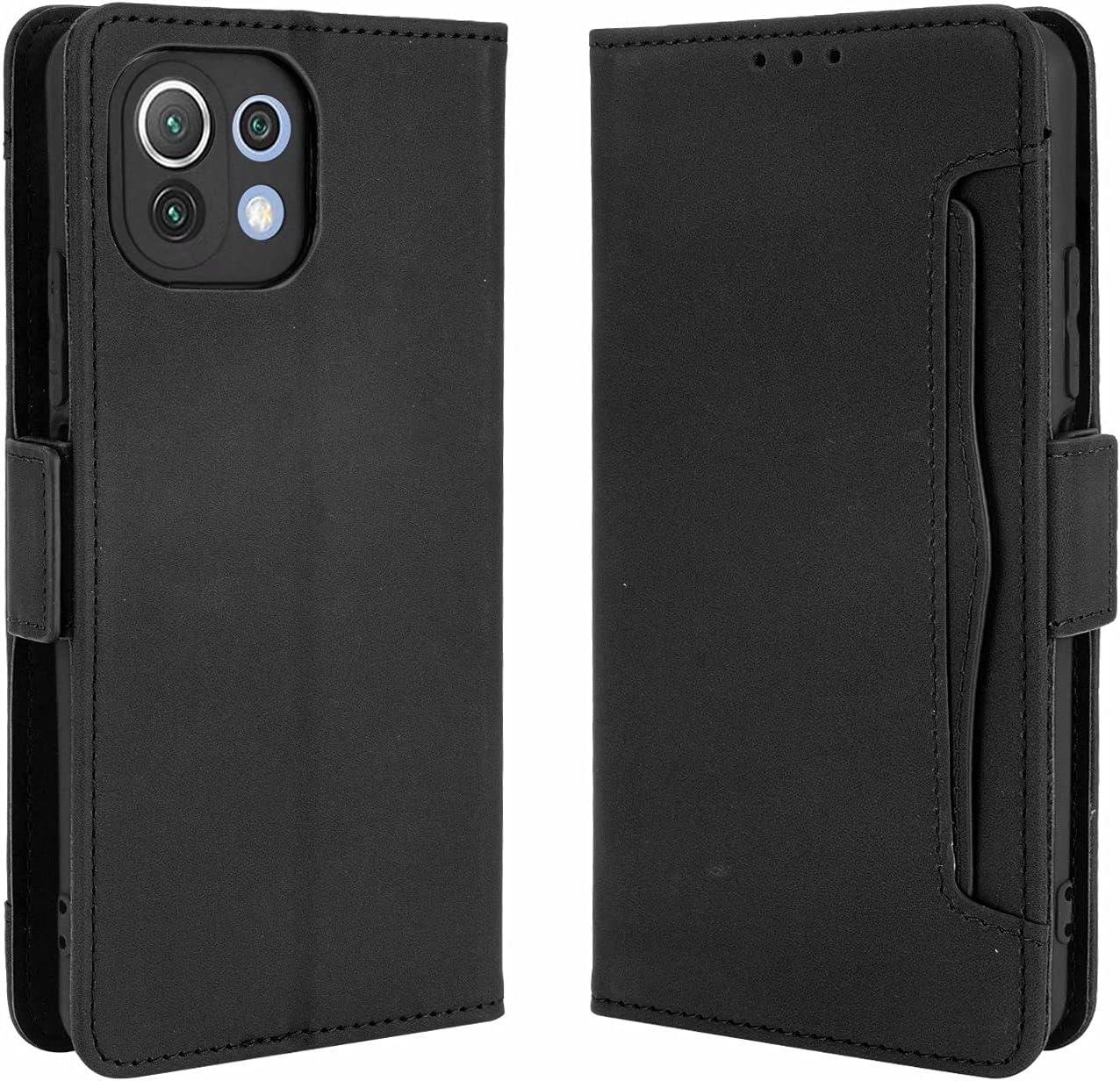 SOUFU Funda para Xiaomi Mi 11 Lite 5G/4G Funda,PU Cuero Flip Fundas Móvil de Tapa Libro con Effetto anticollisione e Anti para Xiaomi Mi 11 Lite 5G/4G Funda-Negro