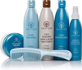 Ovation Hair Holiday Gift Set - Curl System with Cell Therapy - Get Stronger, Fuller & Healthier Looking Hair with Natural Ingredients - Includes Shampoo, Conditioner, Repair Mask, Detangler, Comb