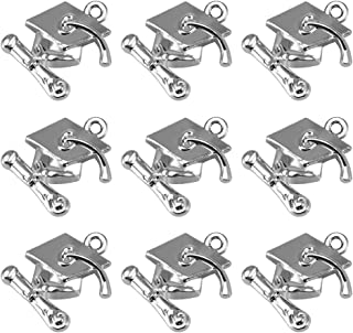 LUOEM 100 Pcs Graduation Cap Charm Pendants Graduate Hanging Charm with Diploma Pendant Graduation Gifts for DIY Crafting Bracelet Necklace Jewelry Making Accessory