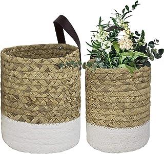 LA Jolie Muse Wall Hanging Storage Baskets Set of 2 - Small Cotton Rope Handle Nursery Hanging Storage Organizer, Hanging ...