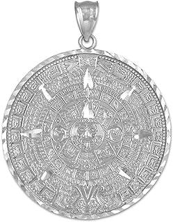 925 Sterling Silver Aztec Charm Mayan Calendar Pendant