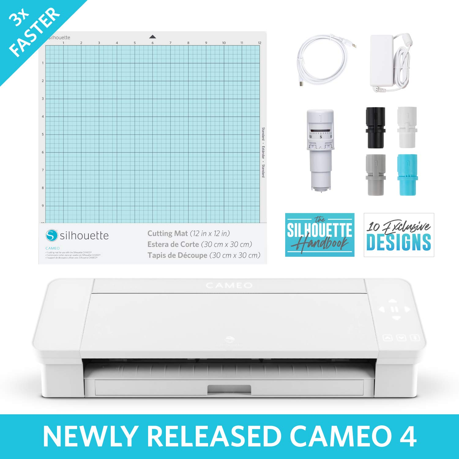 Amazon Com Silhouette Cameo 4 With Bluetooth 12x12 Cutting Mat Autoblade 2 100 Designs And Silhouette Studio Software White Edition