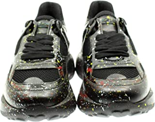 Women's Casual Sneakers in Black Leather and Fabric with Splashes of Multicolor Paint. Non-Slip Rounded Rubber Bottom.