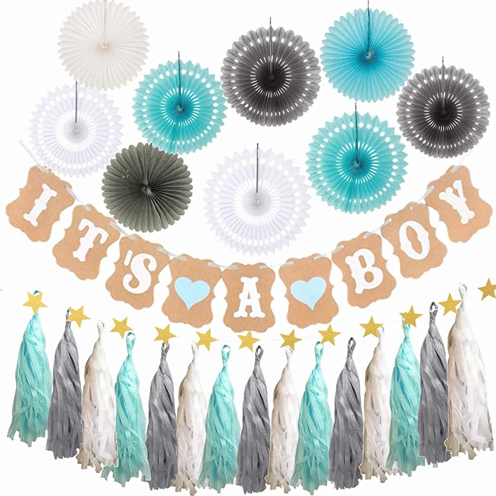 34PCS It's a Boy Baby Shower Decoration Set for Boy Party Décor Supply Kit -Paper Fan, Hollow Fan, Tassel Garland, It's a Boy Banner, Star Garland
