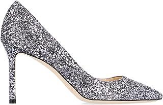 JIMMY CHOO Luxury Fashion Womens ROMY85ARGGUNMETALMIX Silver Pumps | Fall Winter 19