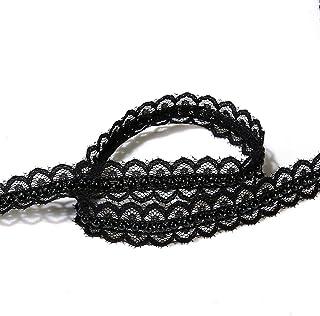 5 yard Sparkles Gems Vintage Style Lace fabric Ivory Pearl Ribbon Trim Sewing craft Wedding Decoration (black)