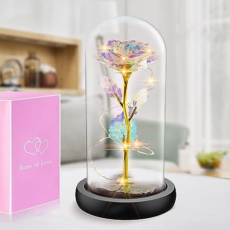 Rosa Eterna, Rosa Bella y Bestia, Gomyhom Galaxy Rosa, luz LED en Vidrio, Regalos Originales para Día de San Valentín, el Día de Madre, Mujer Novia Esposa, Cumpleaños Regalo (Galaxia)