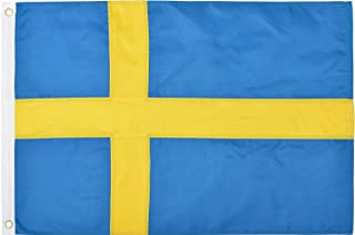 Green Grove Products Sweden 2' x 3' Ft 210D Nylon Premium Outdoor Embroidered Swedish Flag