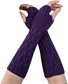 Womens Winter Knit Knitted Long Fingerless Gloves Pingtr Women Arm Warmers Ladies Cable Knit Fingerless Mittens