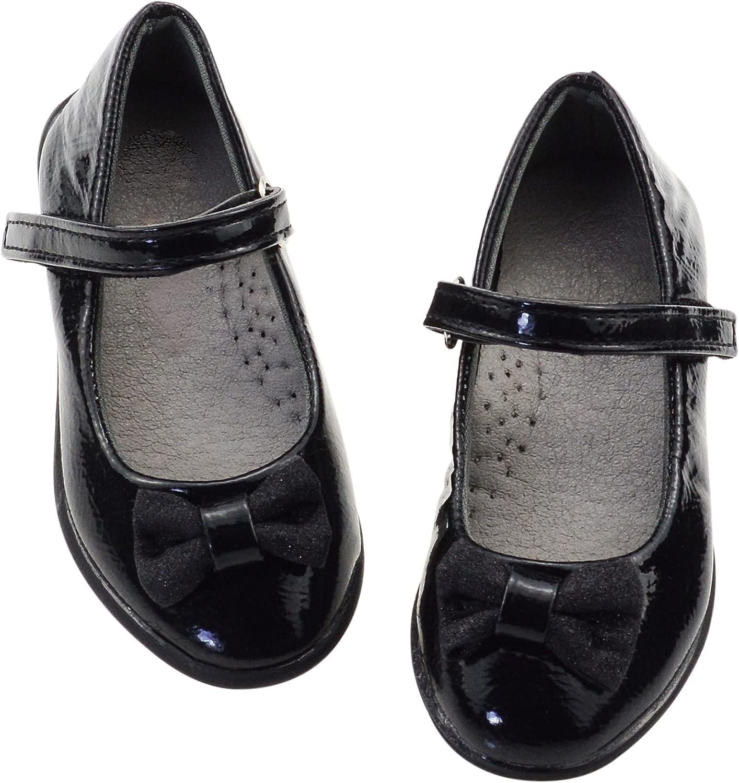 DECIMEN Girls Black Ballet Flats Mary Jane Dress Shoes for Big Kids or Toddler