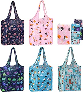 Reusable Grocery Bags Set 5 Pack Foldable, Washable Durable Waterproof Shopping Bag