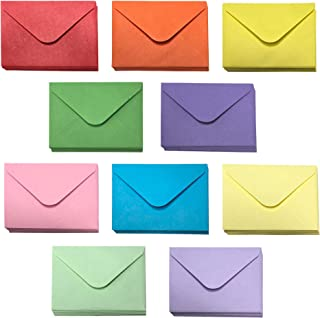 Gift Card Envelopes - 100-Count Mini Envelopes, Paper Business Card Envelopes, Bulk Tiny Envelope Pockets for Small Note Cards, 10 Colors, 4 x 2.7 Inches