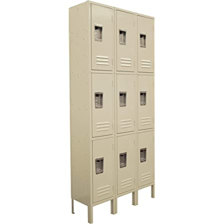 Three Tier Locker 6 feet high 3 Wide Unit w/ 9 Doors with Louvers 12W x 15D x 78H Unassembled Tan Metal Locker Perfect as a School Locker, Gym Locker or Lockers for Employees