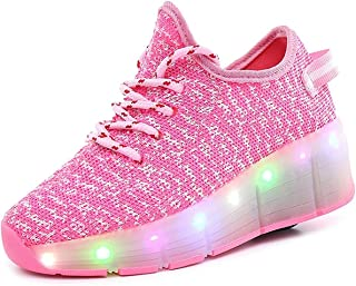 Super bang Kids LED Light Up Shoes Breathable Girls Boys Flashing Sneakers Roller Skate Shoes as Gift