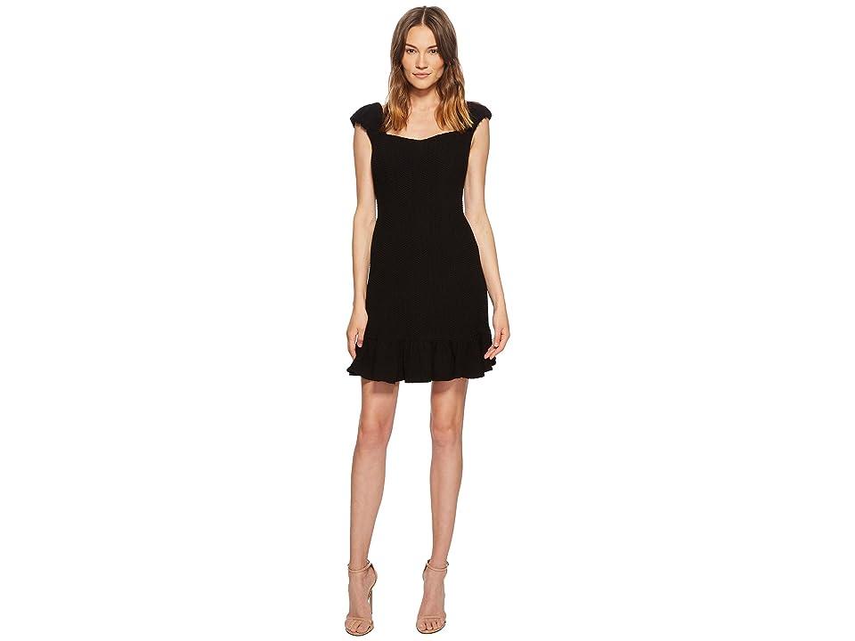 Rebecca Taylor Short Sleeve Stretch Texture Dress (Black) Women