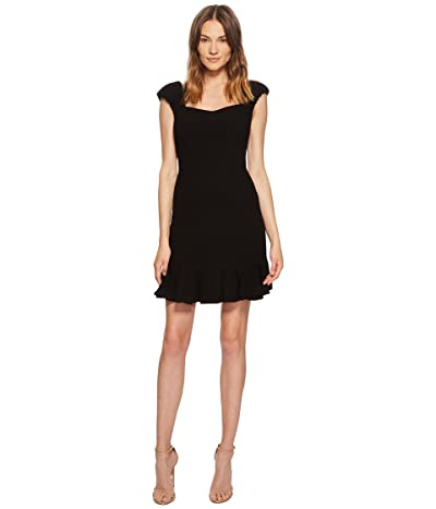 Rebecca Taylor Short Sleeve Stretch Texture Dress (Black) Women