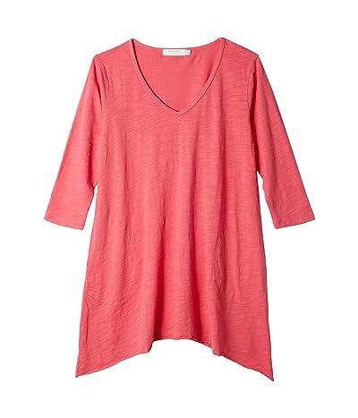 Mod-o-doc Slub Jersey 3/4 Sleeve V-Neck Tunic with Pockets (Azalea) Women