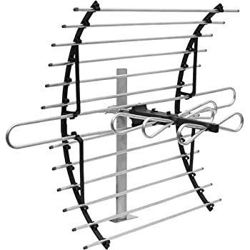[2020 Version] GE Attic Mount TV Antenna, Long Range Indoor Directional Antenna, Supports 4K 1080P Digital HDTV VHF UHF, Mounting Pole Included, Out of Sight Compact Design, 33692