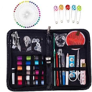 Kit de costura de viaje, más de 100 suministros de costura prémium, mini kit de costura para el hogar, viajes y uso de emergencia, etc.: Amazon.es: Hogar