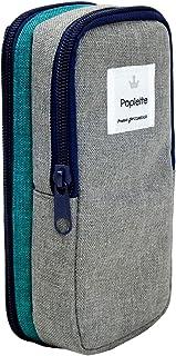 ニッケン文具 ペンケース Poplette タテヨコ ブルー×グレー PLP1-BG