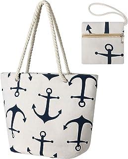 flintronic Große Strandtasche mit Reißverschluss und Innentasche Wasserdicht Strandtasche, Einkaufstasche Shopper für Damen, Schultertasche Einkaufstasche