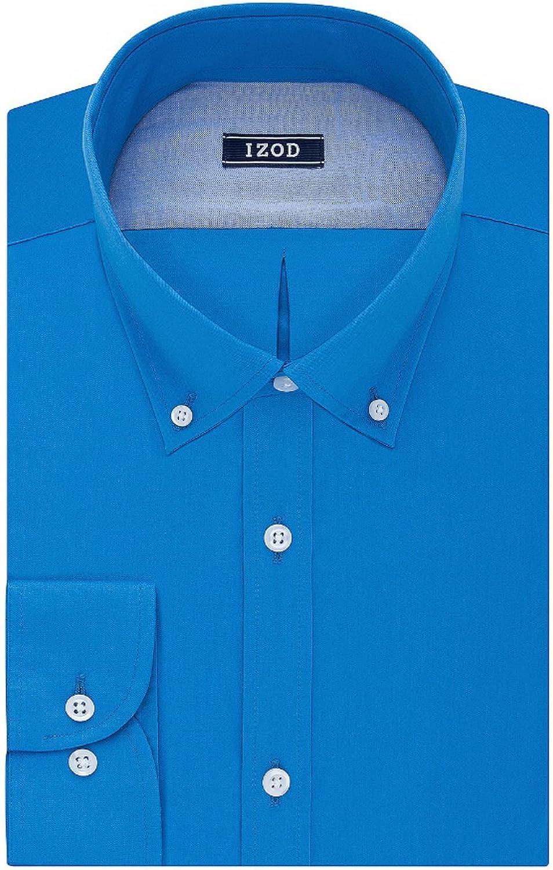 IZOD Men's Slim Fit All-Over Stretch Wrinkle Free Dress Shirt, Sky Blue
