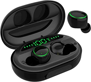 CALIONLTD C5S Wireless Earbuds Bluetooth 5.0 with Charging Case IPX8 Waterproof TWS Stereo Noise Cancelling Headphones in Ear Built in Mic Headset Premium Sound with Deep Bass for Sport Black