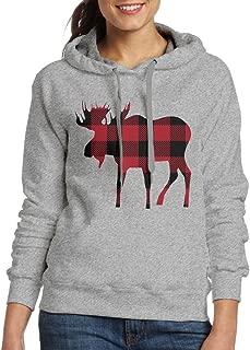 Babysusu Buffalo Plaid Moose Lumberjack Red Black Woman Pullover Hooded Sweatshirt Hoodie Ash
