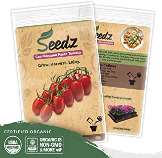 Organic Tomato Seeds (APPR. 100) San Marzano Tomato- Heirloom Vegetable Seeds - Certified Organic, Non-GMO, Non Hybrid - USA