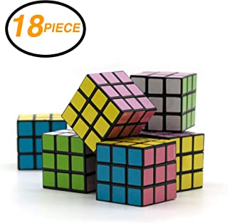 Ram-Pro 18 Pieces Set of Party Favors Puzzle Mini Cube Bundled - Speed Cube Puzzle Children Gift Magic Cube Puzzle Toy, Brain Training Game Rubik's Speed Cube 3 x 3
