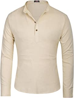 PAUL JONES Men's Stylish Long Sleeve Stand Collar Line and Cotton Shirt Tops