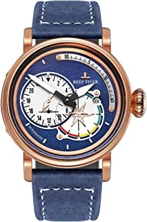 Mens Watches Rose Gold Case Genuine Leather Strap Automatic Pilot Watch with Date RGA3019