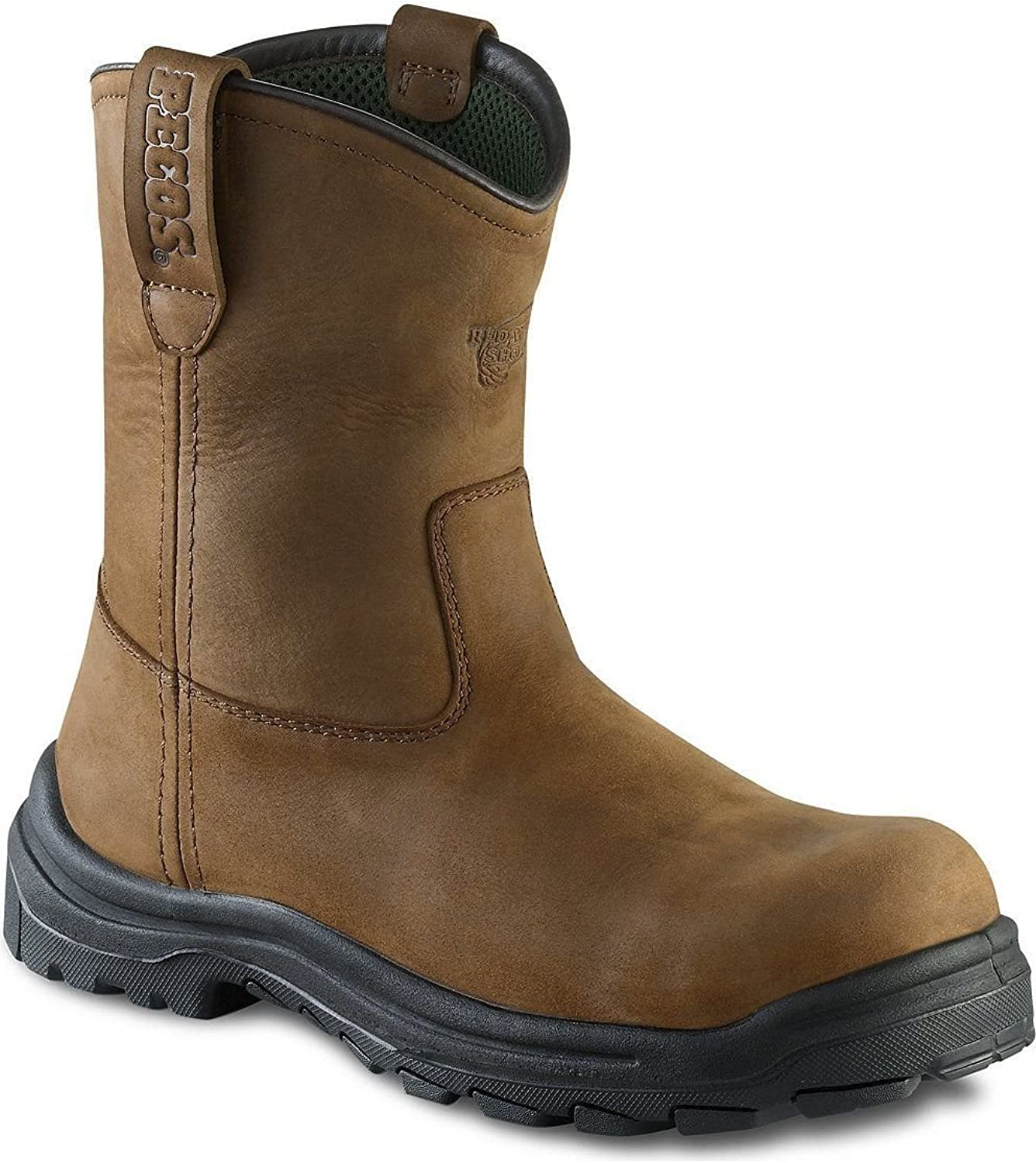 3274 RED WING MEN'S 9-INCH PULL-ON SAFETY BOOT BROWN RIGGER STYLE (UK - 10.5)