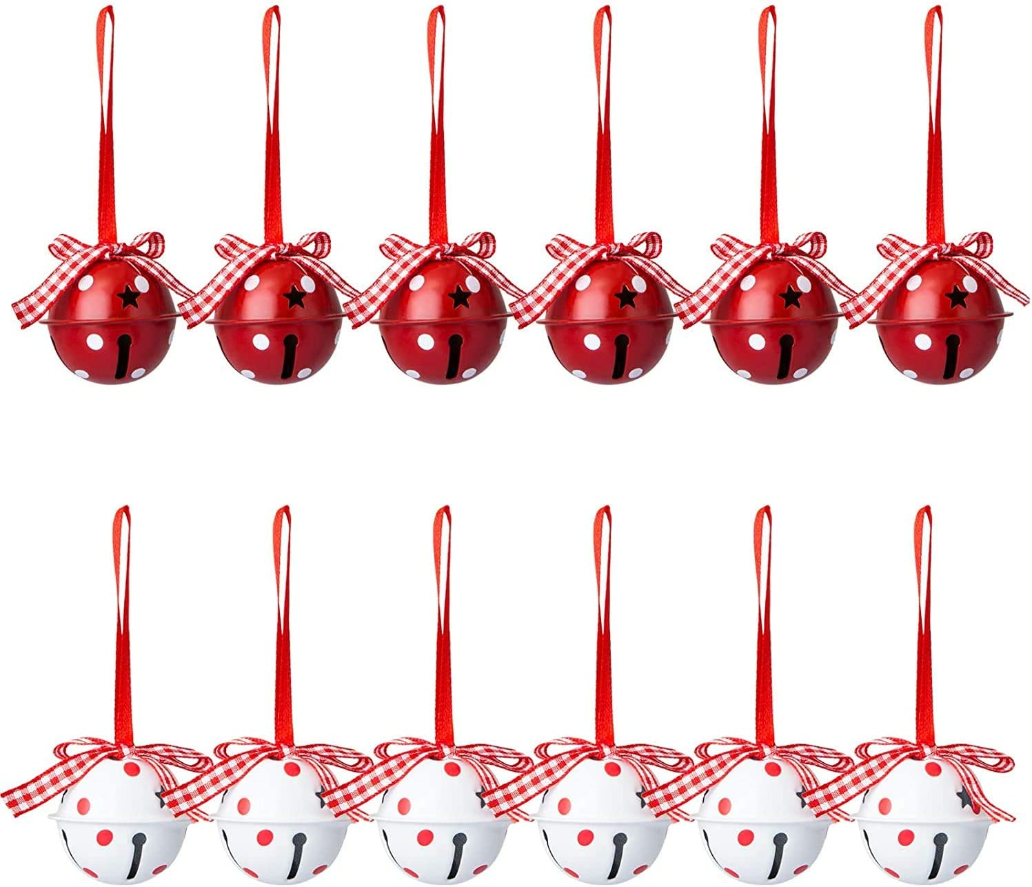 GiWuh 12 PCS Christmas Max 62% OFF Jingle Spring new work one after another Craft Star Cutout with Bells