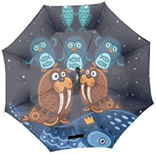Wild Totem Animal Walrus Reverse/Inverted Double-Layer Waterproof Straight Umbrella Inside-Out for Car Use