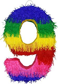 Aurabeam Colorful Numbers Pinatas 0 to 9 for Birthday, Anniversary or any Party Celebration - Handmade in Mexico (9)