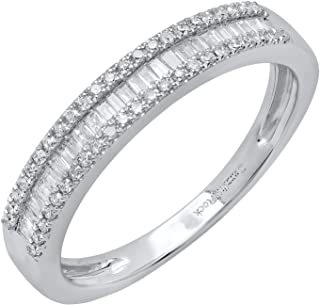 0.30 Carat (ctw) 10K Gold Round & Baguette Diamond Ladies Anniversary Wedding Band 1/3 CT