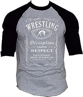 Men's MMA Wrestling Whiskey Label Gray/Black Raglan Baseball T-Shirt Gray/Black
