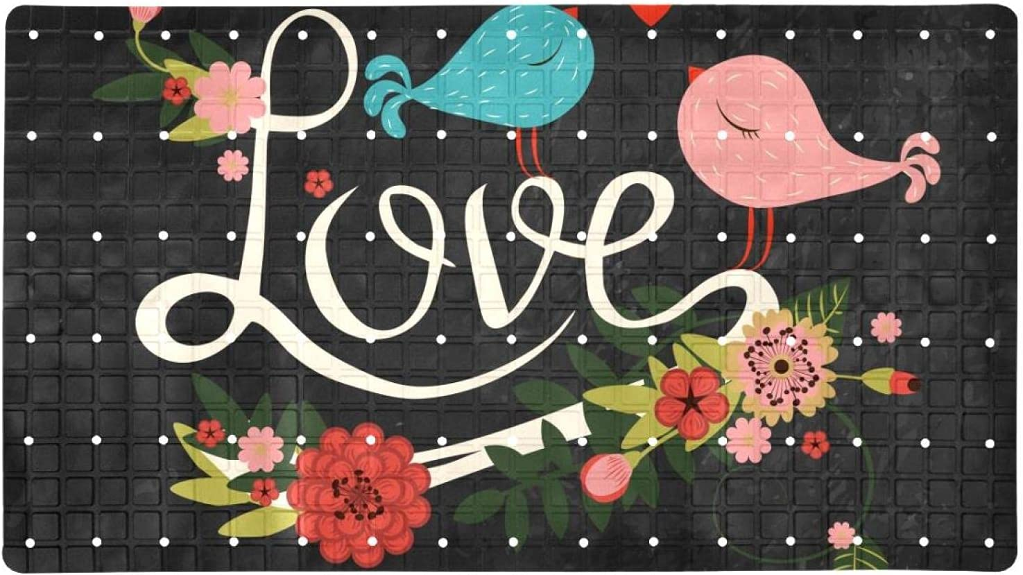Bath Tub Shower Mat 15.7x27.9 inches with Text specialty shop Boston Mall Flor Love Doodles