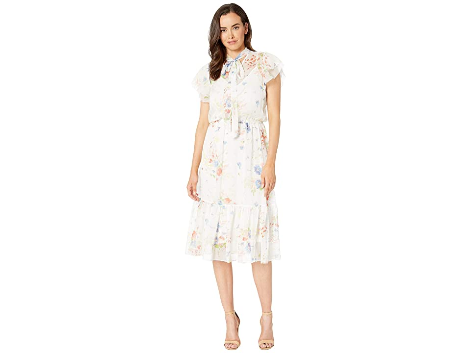 LAUREN Ralph Lauren Floral Necktie Georgette Dress (White) Women
