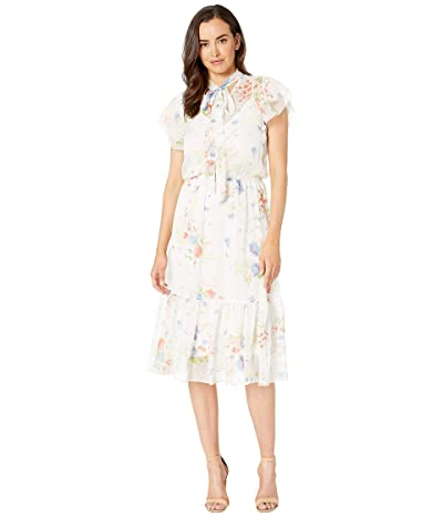 LAUREN Ralph Lauren Floral Necktie Georgette Dress (White) Women