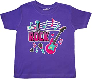 I Rock with Guitar Microphone and Music Notes Toddler T-Shirt