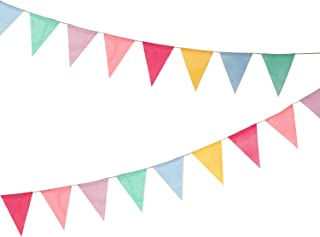 Hicarer 12 Multicolor Flags Imitated Burlap Bunting Banner Fabric Triangle Flag for Party Decoration