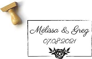 Timbro matrimonio personalizzato, con rosa, matrimonio stile elegante e chic, con nomi e data, 5 x 3 cm